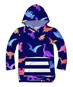 b894c2981e4 Sunshine Swing Navy   Purple Dinosaur Hooded Top - Infant
