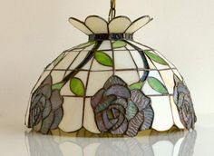 Items similar to Tiffany Style Hanging Lamp. on Etsy Stained Glass Lamp Shades, Tiffany Stained Glass, Stained Glass Art, Stained Glass Windows, Fused Glass, Hanging Lamp Shade, Garden Lamps, Tiffany Lamps, Vintage Lamps