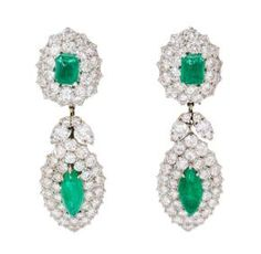 A Pair of Platinum, Diamond and Emerald Convertible Day Night Earclips, Van…