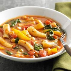 Hearty enough for a meal, minestrone is a thick vegetable soup chock-full of pasta, beans, and Parmesan. From Tuscan minestrone to vegetarian minestrone, these easy soup recipes preserve the traditio. Healthy Dinner Recipes, Soup Recipes, Vegetarian Recipes, Cooking Recipes, Fall Recipes, Healthy Dinners, Vegetarian Dinners, Weeknight Dinners, Healthy Soup
