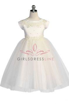 Ivory Satin Bodice Flower Girl Dress with sleeves KC-D1102I on www.GirlsDressLine.Com