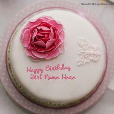 Write name on Rose Birthday Cake For Girls - Happy Birthday Wishes