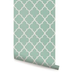 Moroccan Mint Peel & Stick Fabric Wallpaper Repositionable - Simple Shapes Wall Decals, Furniture, and Accessories