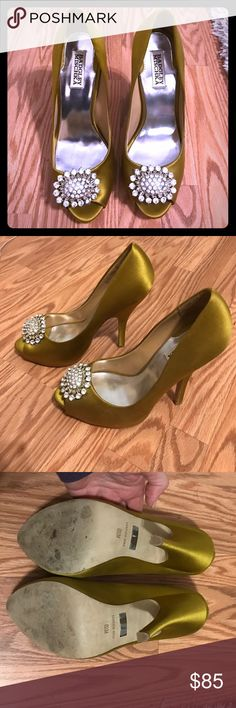 Badgley Mischka peep toe heels Gorgeous!!!!! Citrine colored satin heels with amazing jeweled detail. These are 4 inches high with a half inch platform. Worn once to my bridal shower. In perfect condition everywhere the eye sees. Badgley Mischka Shoes Heels