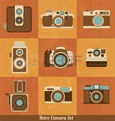 Retro-Kamera Set Stockfoto