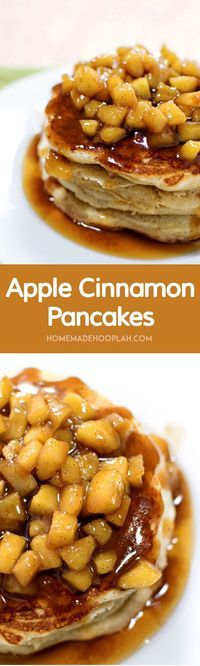 Apple Cinnamon Pancakes! Old fashioned cinnamon pancakes topped with fresh cuts of apple cooked in a cinnamon syrup glaze.   HomemadeHooplah.com