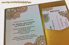 Mandala and Faux Bois (Woodgrain pattern) Rustic Chic Gold Glamour Same Sex Wedding Invitation Set by Luckyladypaper.