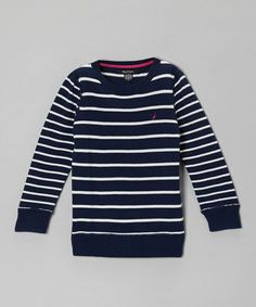 Loving this Navy Blue Stripe Long-Sleeve Sweater - Girls on #zulily! #zulilyfinds
