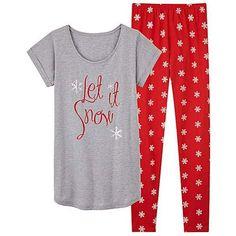 Pretty Secrets Legging Pyjama Set ❤ liked on Polyvore featuring intimates, sleepwear, pajamas, christmas pajamas, christmas pjs, short pajamas, christmas sleepwear and christmas pajama sets