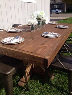 DIY Farmhouse Table Complete Absolutely Love How This Turned Out ReFunkYourJunk By Cassandra Diy TableRestoration HardwareDining