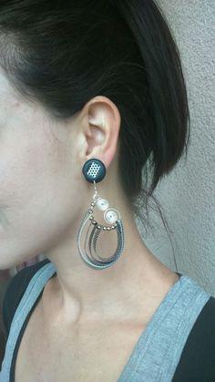 Silver- black-white earings made from plastic bottles