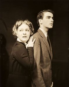 """Alla Nazimova and a young Montgomery Clift in a publicity still for the Broadway production of """"The Mother."""" 1939"""