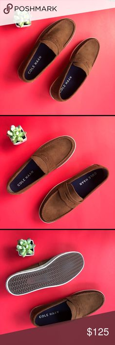 COLE HAAN HYANNIS PENNY LOAFER II size 10 Cole haan penny loafer suede size 10 brown suede boat shoes loafers perfect for summer 100% authentic suede  Brand new Cole Haan Shoes Loafers & Slip-Ons