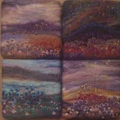 Hand-felted textile artworks with hand-stitched embroidery details. Copyright RaeBattesonArt 2015 #art #felt #wetfelting #textiles #embroidery #moors #flowers #sky #night #handmade #uk