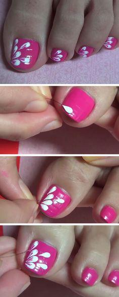 Pink Paint Petals Using A Hair   18 DIY Toe Nail Designs for Summer Beach   Easy Toenail Art Designs for Beginners