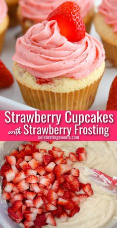 These fluffy vanilla cupcakes are filled with fresh strawberries and topped with an incredible strawberry frosting. No artificial colors or flavors, delicious fresh strawberries in every bite. Strawberry Frosting, Strawberry Cupcakes, Vanilla Cupcakes, Yummy Cupcakes, Strawberry Recipes, Fruit Recipes, Best Dessert Recipes, Cupcake Recipes, Dessert Ideas