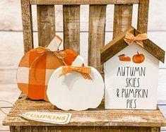 Wooden Pumpkins, Small Pumpkins, Buffalo Check Fabric, Dollar Tree Pumpkins, Autumn Crafts, Beaded Garland, Tray Decor, Fall Halloween, Making Ideas