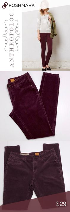 """Anthropologie Pilcro Serif Cords ✔️97% Cotton•3% Spandex  ✔️Skinny Fit ✔️Maroon/Wine Color ✔️No Holes, Stains or Damages ✔️Inseam: 28.5"""" approx. Anthropologie Pants"""