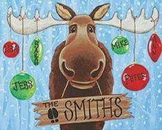 Social Artworking Canvas Painting Design - Christmas Moose Best Picture For kids christmas play For Canvas Painting Designs, Diy Painting, Painting Canvas, Painted Canvas Diy, Canvas Painting Tutorials, Simple Acrylic Paintings, Tole Painting, Christmas Paintings On Canvas, Christmas Moose