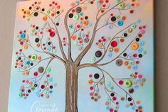 Make this beautiful button tree for your home. This button tree tutorial shows you step by step how to turn an ordinary canvas into colorful wall art! - by Amanda Formaro of Crafts by Amanda Fun Crafts, Diy And Crafts, Arts And Crafts, Paper Crafts, Cardboard Crafts, Summer Crafts, Stick Crafts, Tree Crafts, Canvas Crafts