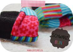Pulswärmer aus Jerseyresten und Fleecejacke / Wristlets made from old fleece jacket and scraps of fabric