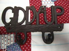 Cast Iron Two Hook Rustic Giddy Up Horse Shoe Farm Decor Key Holder