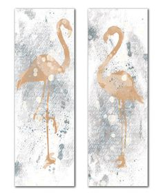@SarahWilde01 Gold & Grey Flamingo Panel - Set of Two on #zulily! #zulilyfinds
