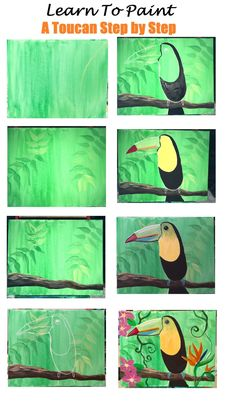 Learn How To Paint A Toucan Step By Step For Beginners acrylic painting ideas