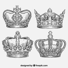 Hand drawn royal crowns Free Vector Queen Crown Tattoo, Small Crown Tattoo, King Queen Tattoo, Crown Tattoo Design, Time Tattoos, Body Art Tattoos, Love Life Tattoo, Star Tattoos For Men, Crown Drawing