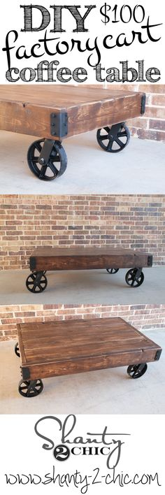 Easy and inexpensive factory cart coffee table that anyone can build! I want 5 🙂 Easy and inexpensive factory cart coffee table that anyone can. Industrial Furniture, Pallet Furniture, Furniture Projects, Home Projects, Furniture Stores, Furniture Outlet, Plywood Furniture, Furniture Plans, Diy Esstisch