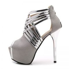 A fun peep toe stiletto with metallic crisscross strap detailing along the front. Hot High Heels, High Heels Stilettos, Womens High Heels, Women's Pumps, Suede Pumps, Platform Pumps, Zapatos Peep Toe, Peep Toe Shoes, Shoes Heels