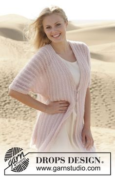 Ravelry: Sweet Rose Cardigan pattern by DROPS design. A light and airy summer cardigan. Lace Patterns, Knitting Patterns Free, Free Knitting, Free Pattern, Crochet Patterns, Drops Design, Point Mousse, Summer Knitting, Cardigan Pattern