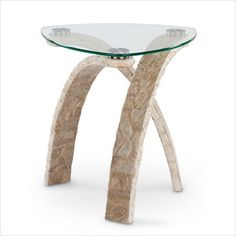 Magnussen Cascade Stone and Glass Oval End Table in Natural and Glass - T1884-22T-T1884-22B-KIT - Lowest price online on all Magnussen Cascade Stone and Glass Oval End Table in Natural and Glass - T1884-22T-T1884-22B-KIT