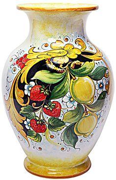 Ceramic Vase with large Central Cavity - Frutta Festone Fragole e Limoni style - 14 inches x inches diameter high x diameter) Ceramic Vase, Ceramic Pottery, Pottery Art, Italian Tiles, Italian Art, Italian Pottery, Pottery Bowls, Hand Painted Ceramics, Flower Vases