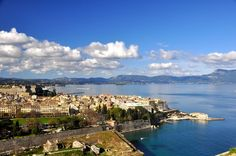 Town of Corfu, Greece Corfu Town, Naples, Sunny Days, Places To Travel, Greece, Hotels, River, Island, City