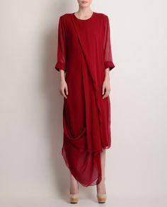 Deep Red Drape Dress