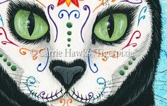 "Original - Day of the Dead Cat 12""x16""-cat art, cat painting, Day of the Dead Cat, Día de los Muertos Gato, sugar skull, cat, black cat, marigolds, roses, cat skull, cat skeleton, Mexican holiday, Mexico, All saints day, All souls day, big eye art"