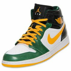 Men's Air Jordan 1 Mid Basketball Shoes | FinishLine.com | Black/University Gold/Gorge Green