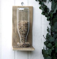 glass bottle turned bird seed feeder