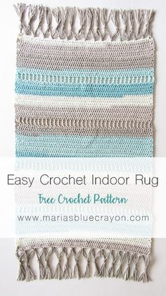 Coastal Indoor Rug - Free Crochet Pattern made with Caron Cotton Cakes - Maria's Blue Crayon - kreativfieber - Coastal Indoor Rug - Free Crochet Pattern made with Caron Cotton Cakes - Maria's Blue Crayon Crochet Indoor Rug Carpet Crochet, Crochet Mat, Crochet Rug Patterns, Crochet Gratis, Free Crochet, Knitting Patterns, Afghan Patterns, Cotton Crochet, Tapetes Diy