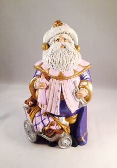 1990's Vintage Hand-Painted Ceramic Santa Claus Christmas Decoration Holiday by UrbanVintageChic on Etsy