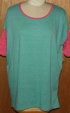 LuLaRoe Irma Short Sleeve Shirt ~ Simply Comfortable. Colors: teal with pink sleeves and trim. Women's Size: XL. | eBay!