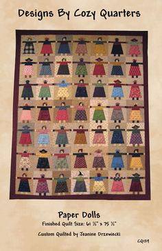 Paper Dolls Product Information Finished Quilt Size: 61 1/2″ x 75 1/2″ Remember making paper dolls as a child? These little girls are quick using my method of freezer paper templates. Y…