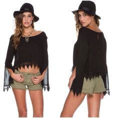 Swell LS on the rise cropped top..NWOT Long sleeved boho top features a wide neckline that can be worn off one shoulder, Flowy sleeves with slit at opening, crochet trim at hem line. Swell Tops