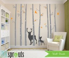 Birch Tree Decal with Deer and birds set of 8 Birch by InkSprouts