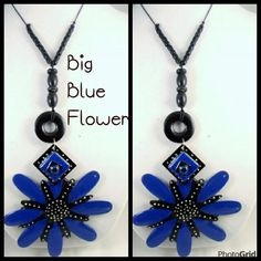 THE BLUE PAINTED WOOD FLOWER NECKLACE AND EARRING SET WHY WAIT FOR SPRING FLOWER BLOOMS. LET THESE VIBRANT COLORS  PUT YOU IN THE MOOD .THIS FLORAL SET  MEASURING 17 INCHES LONG AND FLOWER MEASURES 5 IN. LONG. THE COLOR COMBINATION IS SURE TO BE AN EYE CATCHER.   Peaceful blue is said to convey serenity and openness. A flower delivery of a bouquet containing blue flowers may be a sign to slow down, relax and release the stress.