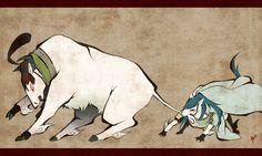 大神風擬獣化石切丸と青江 「まだ 加持祈祷が 途中なんだけどな…!」 「はいはい、遠征から帰ってから続きしようね!」