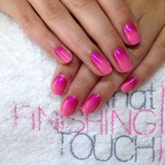 CND Shellac in Gotcha with pink additive fade.