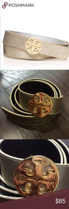 "NWOT Tory Burch Reversible Classic Gold Logo Belt New Authentic Tory Burch Leather Golden Belt with classic Gold reversible Logo. Brand New without tag, no visible scratches. One side is golden and the opposite side is a dark brown. The size of the Tory Burch Logo is a bit larger than 1.5"". Tory Burch Accessories Belts"