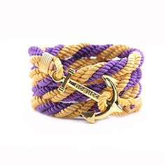 AlumniCrew Gold/Purple  Are you ready to rock your school colors in authentic Alumni Crew Style? The Joseph Nogucci Alumni Crew Bracelet Collection has brought the ancient symbolism of nautical exploration and turned it into a fashion statement that says a lot about the adventurer in you and is designed to make a splash by letting you flaunt your school spirit. - See more at: http://www.josephnogucci.com/products/alumnicrew-blue-gold#sthash.3VjePkBK.dpuf